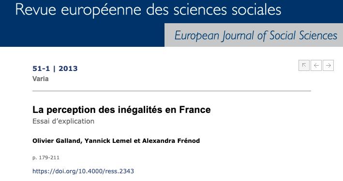 La perception des inégalités en France. Essai d'explication