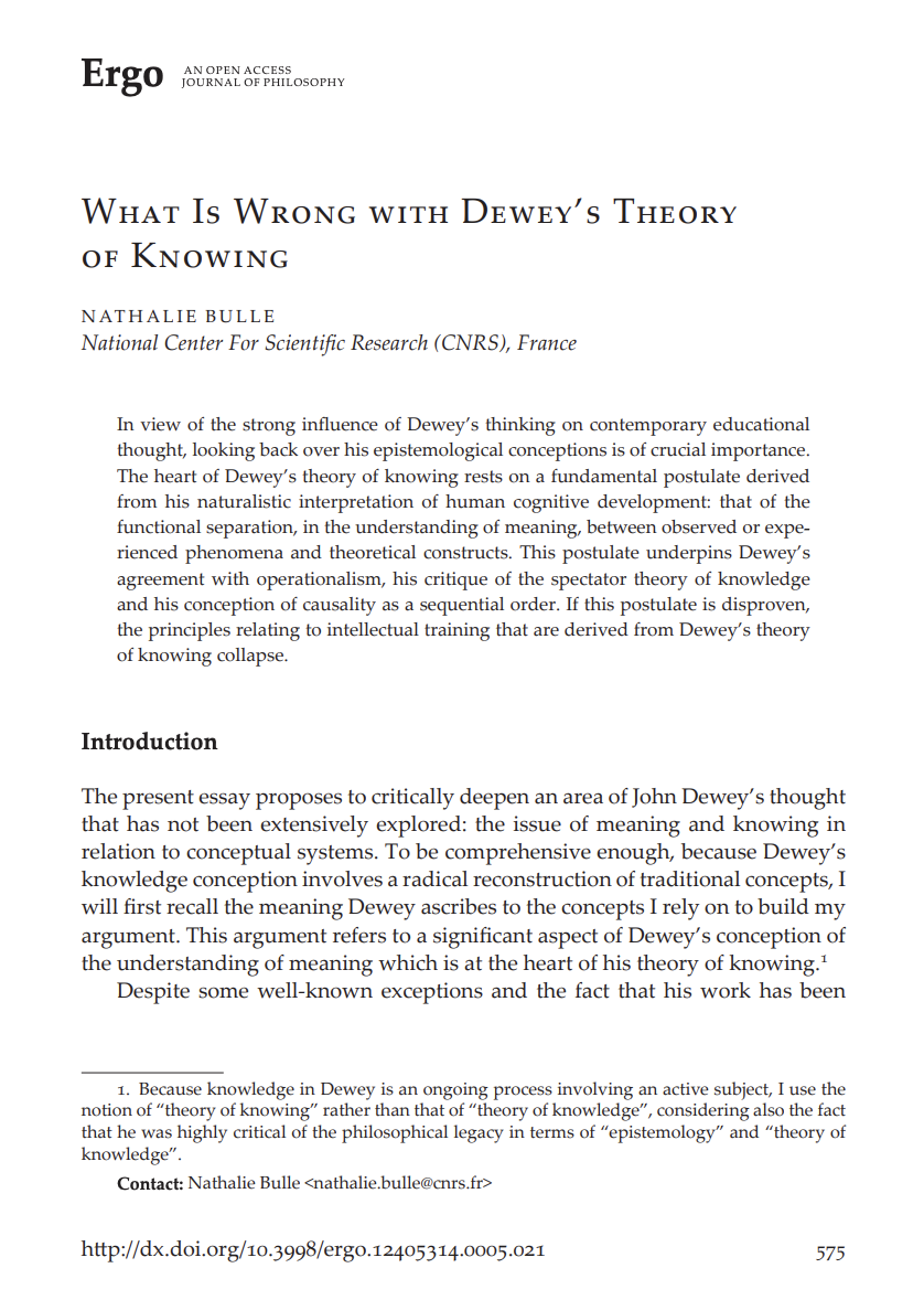 """""""What is Wrong with Dewey's Theory of Knowing"""""""