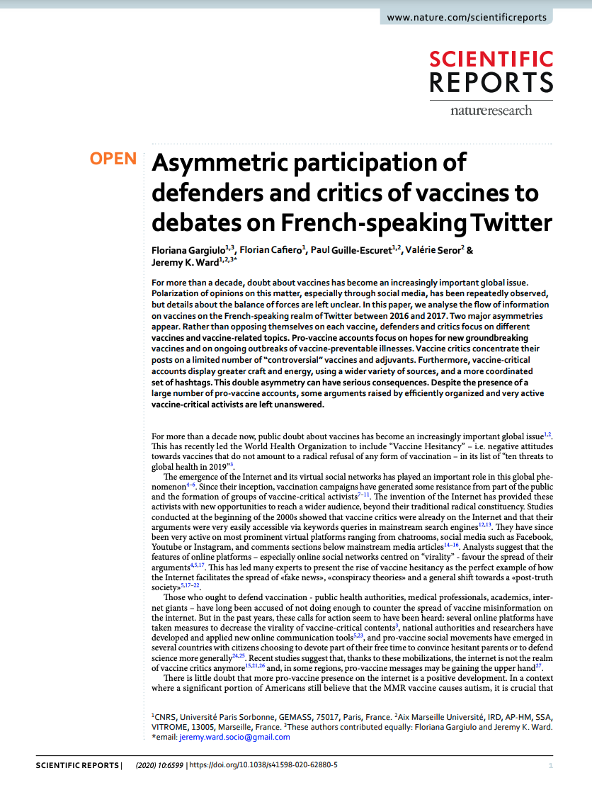 """""""Asymmetric participation of defenders and critics of vaccines to debates on french-speaking twitter"""""""