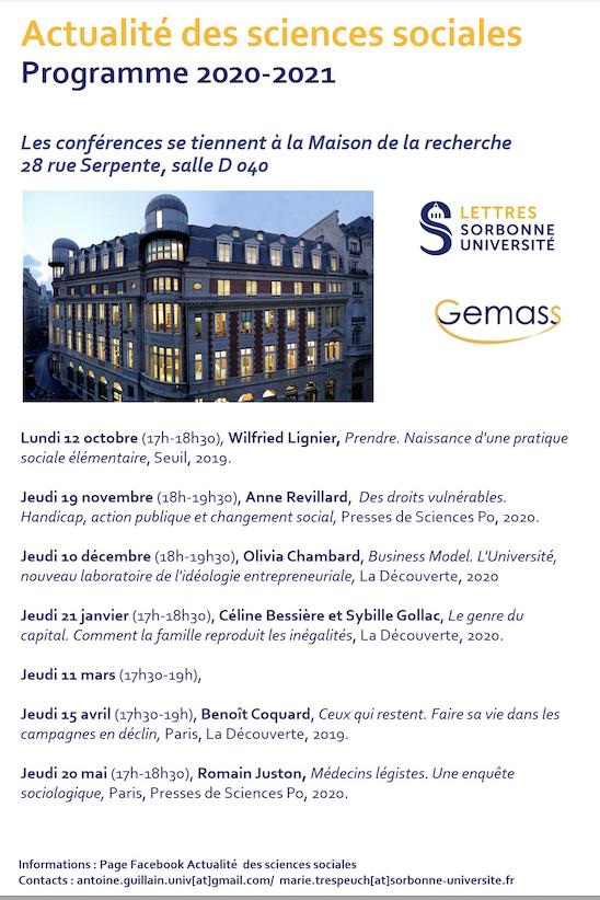 """Cycle de conférences """"Actualité des Sciences Sociales"""" 2020-2021,organisé par Marie Trespeuch et Antoine Guillain"""