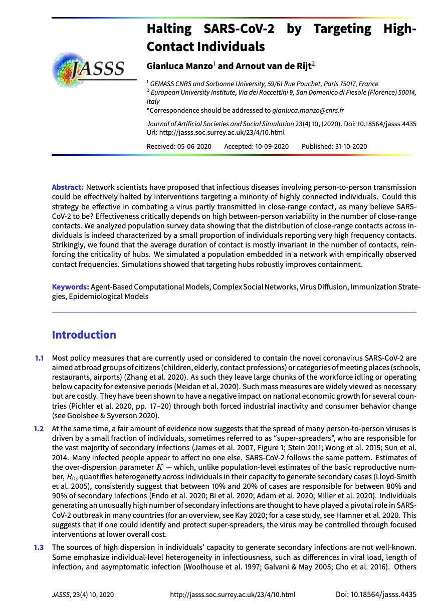 """Halting SARS-CoV-2 by Targeting High-Contact Individuals"""