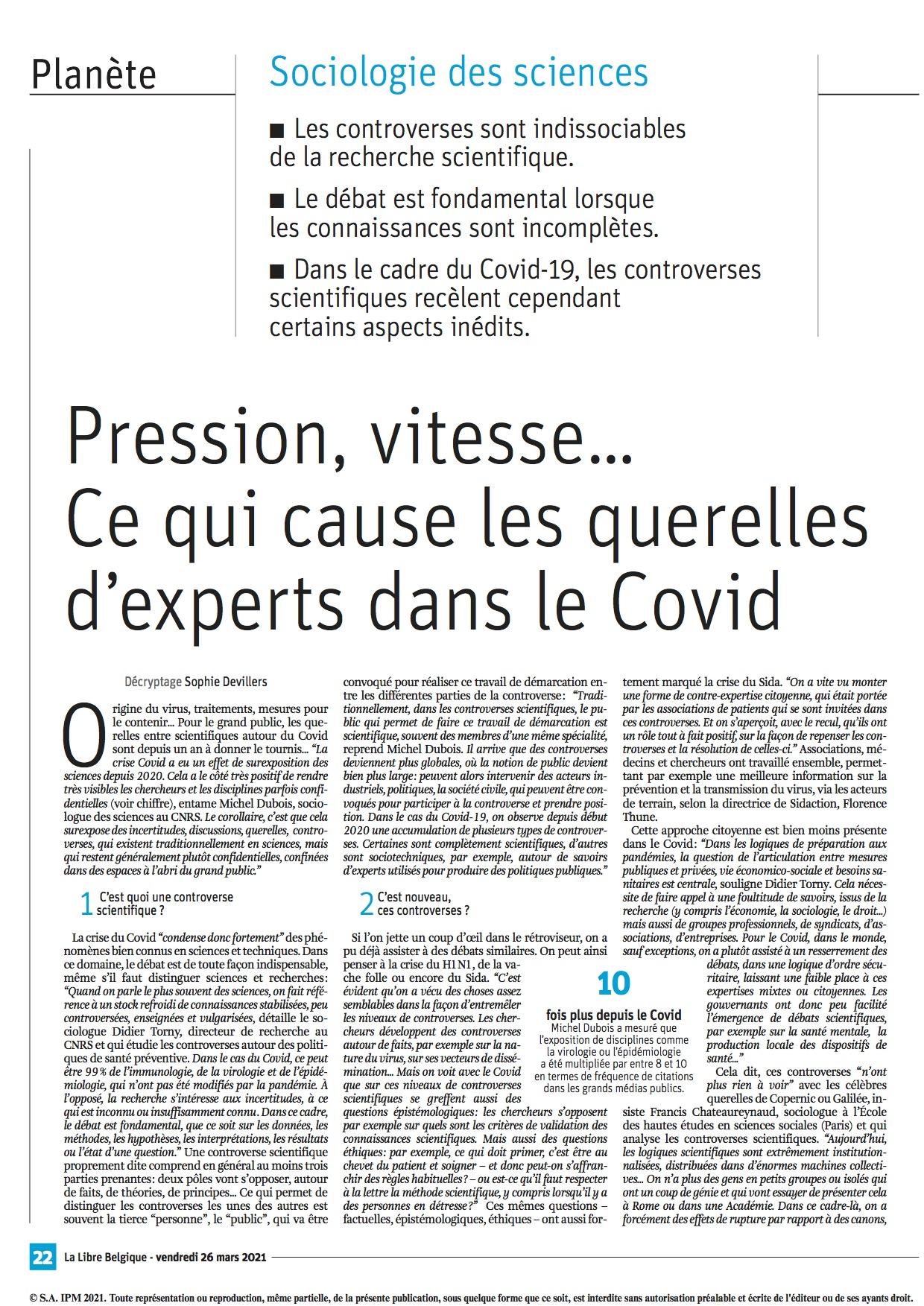 """26 mars 2021. Michel Dubois dans La Libre Belgique. """"Coronavirus: ce qui cause les querelles d'experts"""""""
