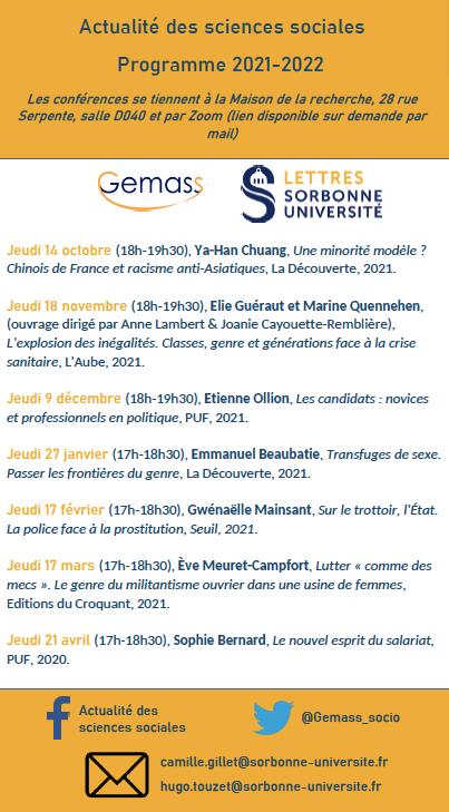 """Cycle de conférences """"Actualité des sciences sociales"""" 2021-2022, organisé par Camille Gillet et Hugo Touzet"""